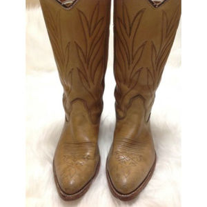 Double H Dark Tan Leather Pointed Toe Cowboy Boots